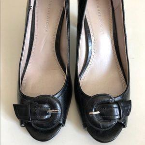 Etienne Aigner Black Peep Toe Heels (Women's 7)